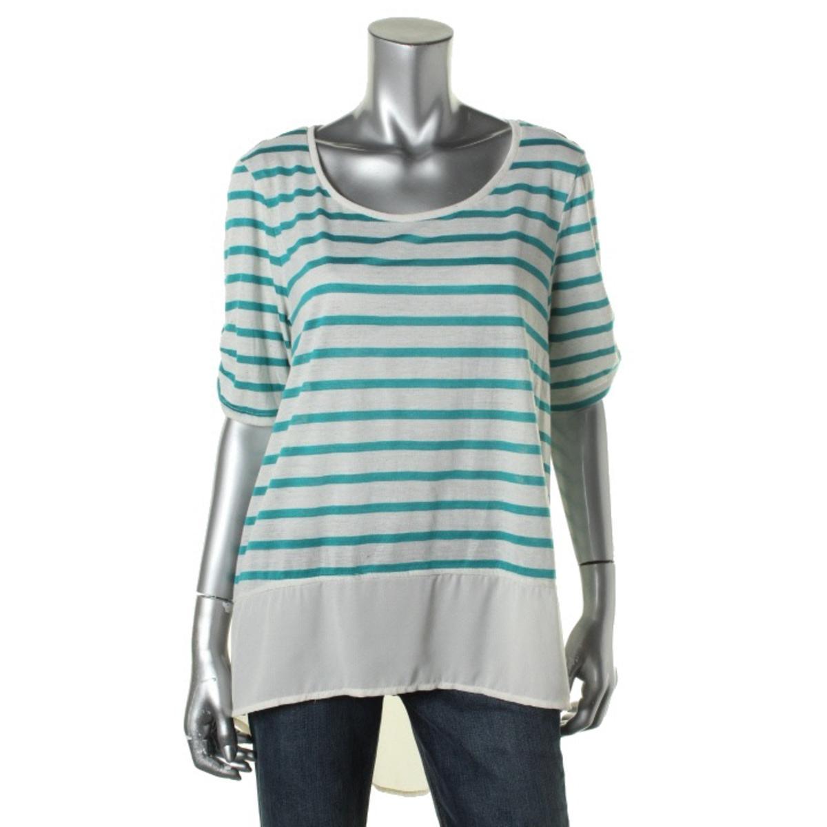 Style & Co. Linen Blend Chiffon Trim Tunic Top