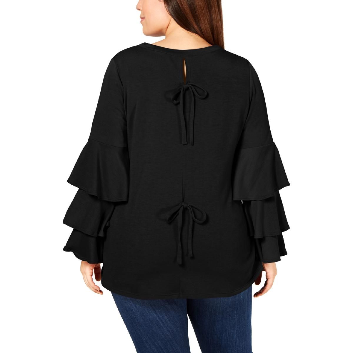 NY Collection Womens Black Ruffled Slit Pullover Top Shirt Plus 1X BHFO 1046