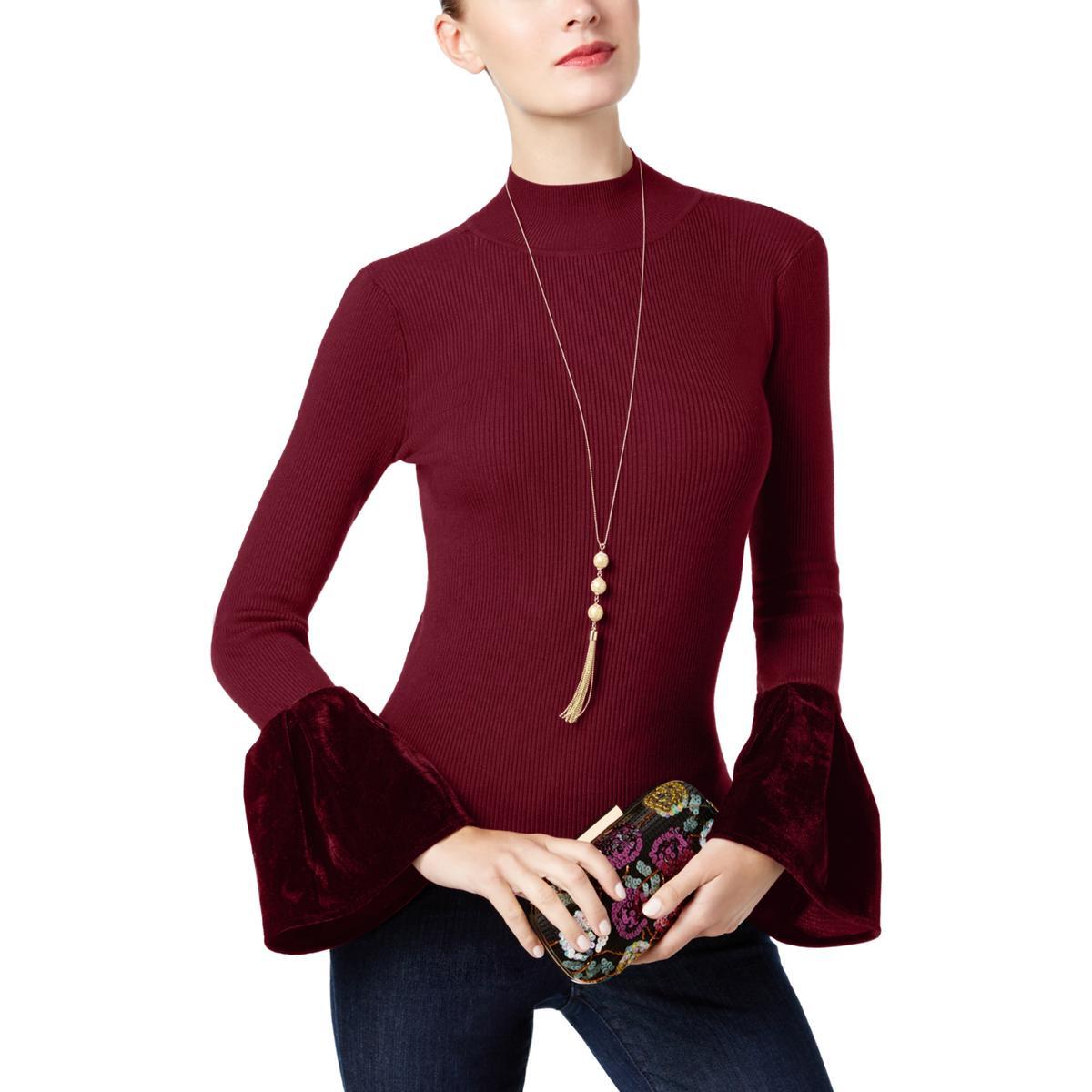 a1dd641918ec International Concepts Womens Rib Knit Velvet Mock Turtleneck Sweater
