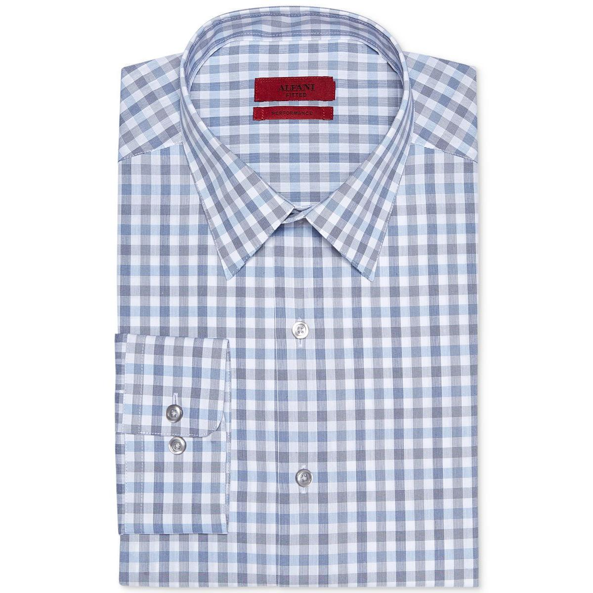 Alfani 5511 Mens Blue Checkered Fitted Button Down Shirt