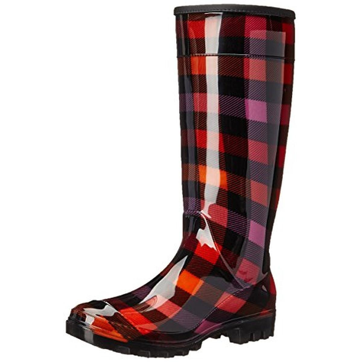 Perfect Women39s Checkers Plaid Print Wedge Rain Boots  Overstock Shopping