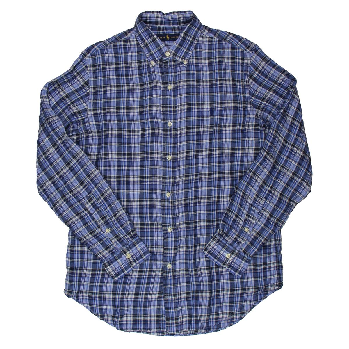 Polo Ralph Lauren 8471 Mens Linen Plaid Long Sleeve Button-Down ...