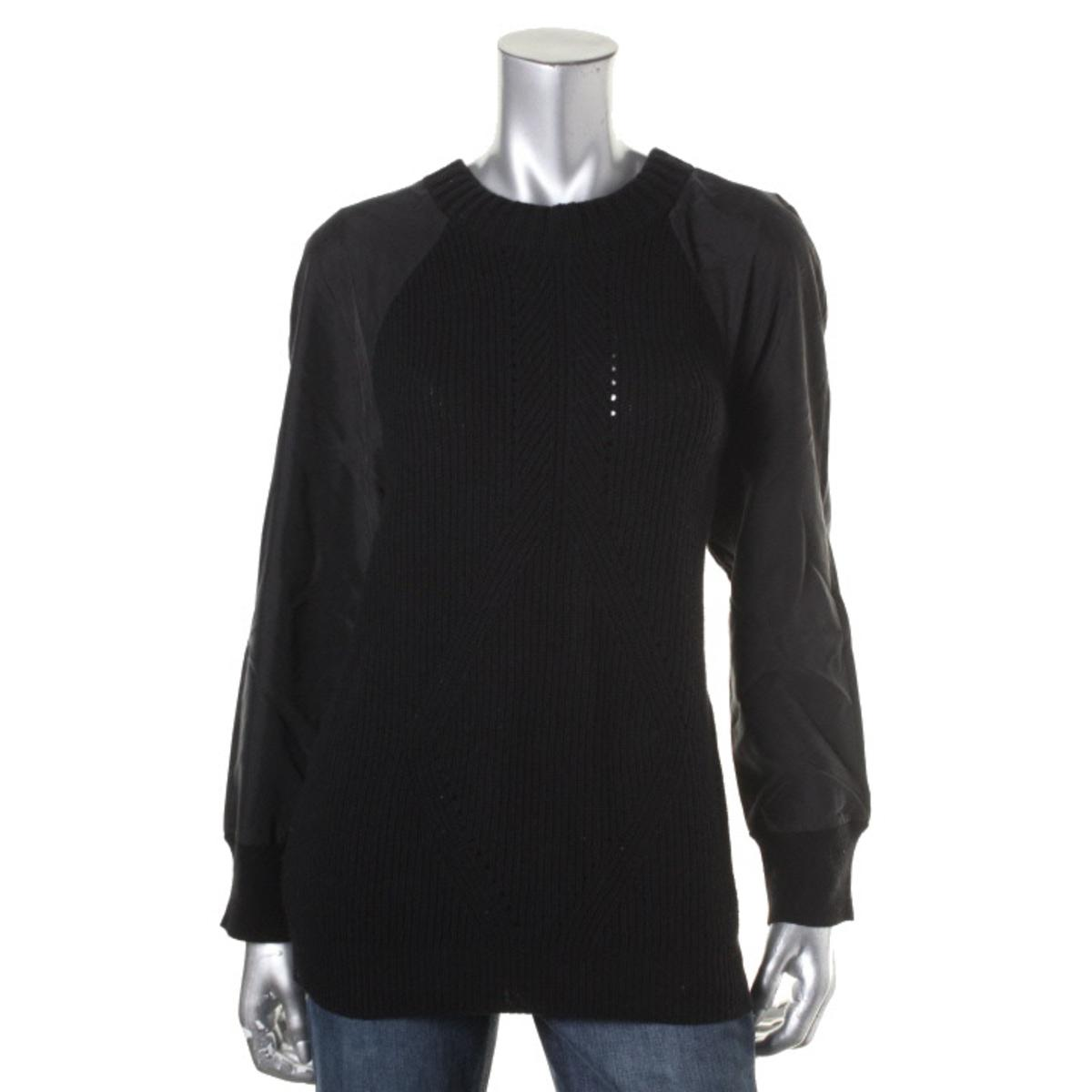 calvin klein jeans 2454 womens mixed media crew neck pullover sweater top bhfo ebay. Black Bedroom Furniture Sets. Home Design Ideas