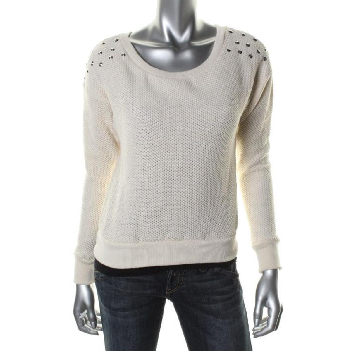 Fang Juniors Cotton Studded Knit Top