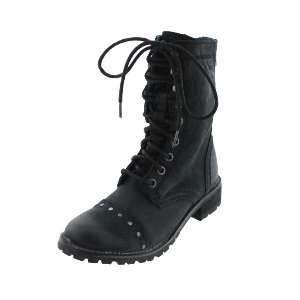 Diesel We Love Prairie New Laura Leather Studded Combat Boots