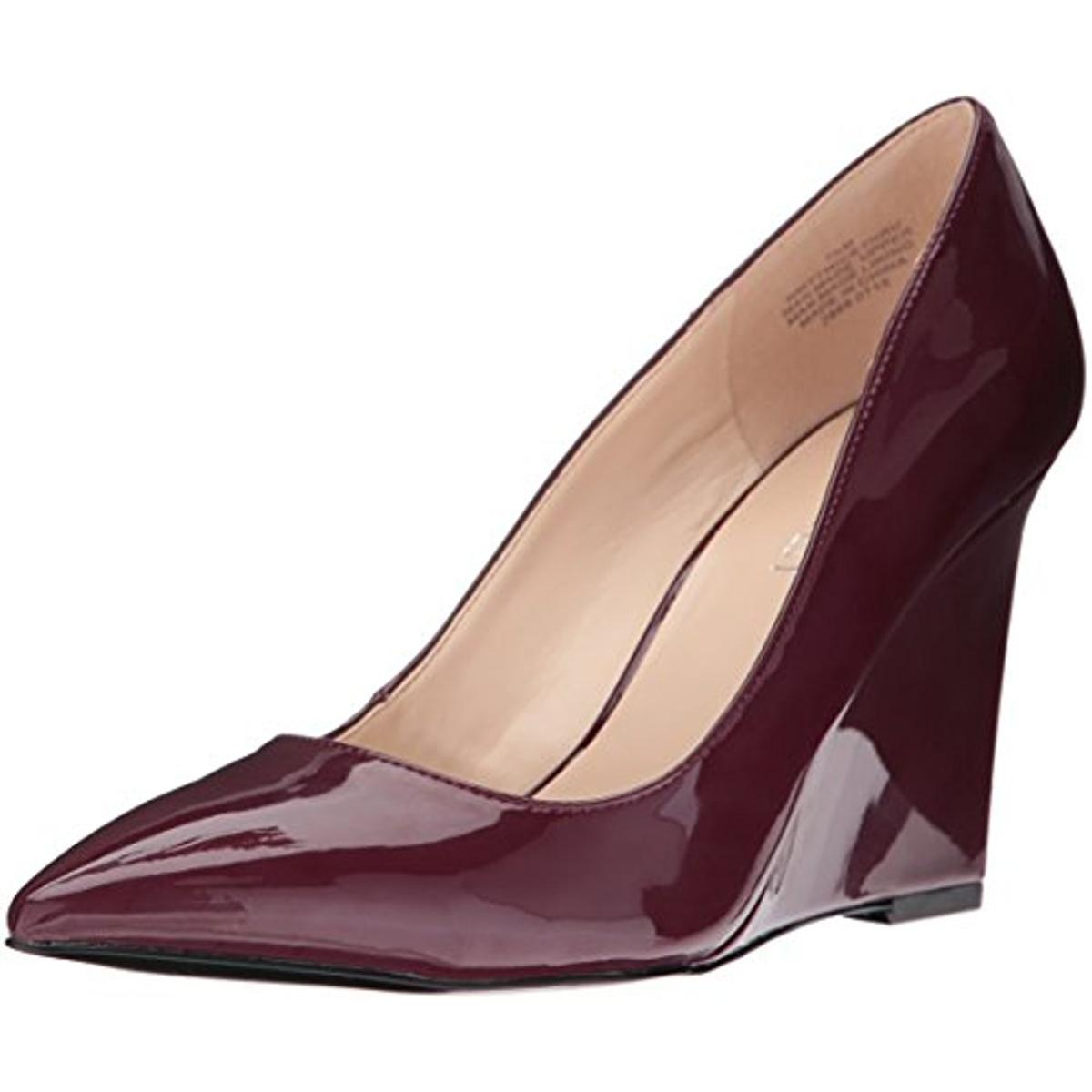 nine west 0972 womens twicethru patent pointed toe wedge
