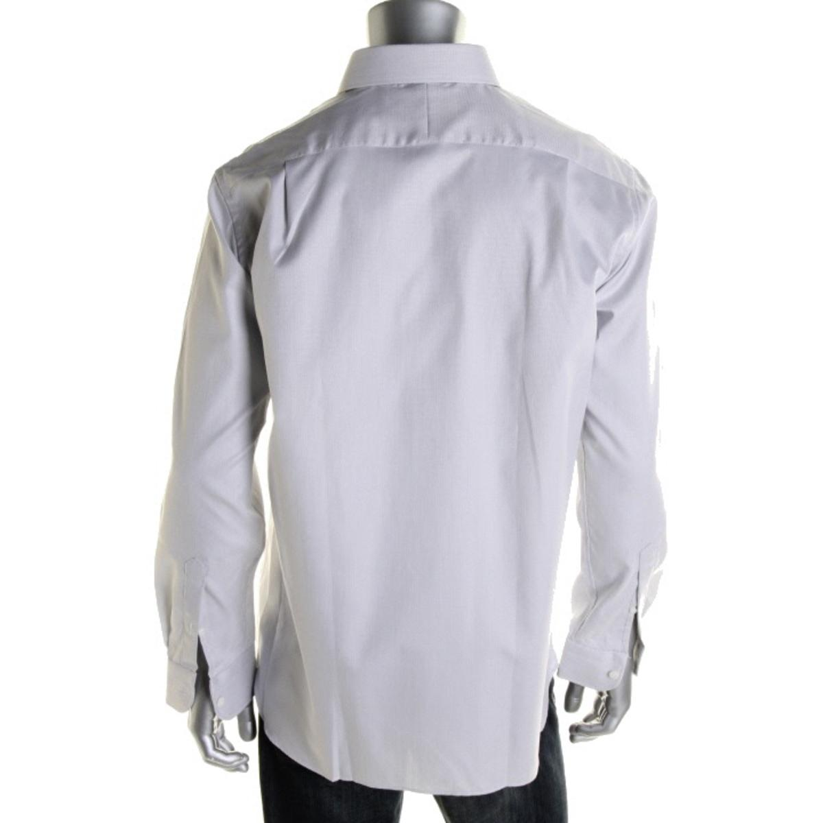 Hickey freeman 1842 mens gray pindot tab collar button for Mens tab collar dress shirts