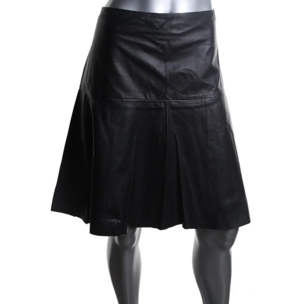 ralph new black leather knee length solid