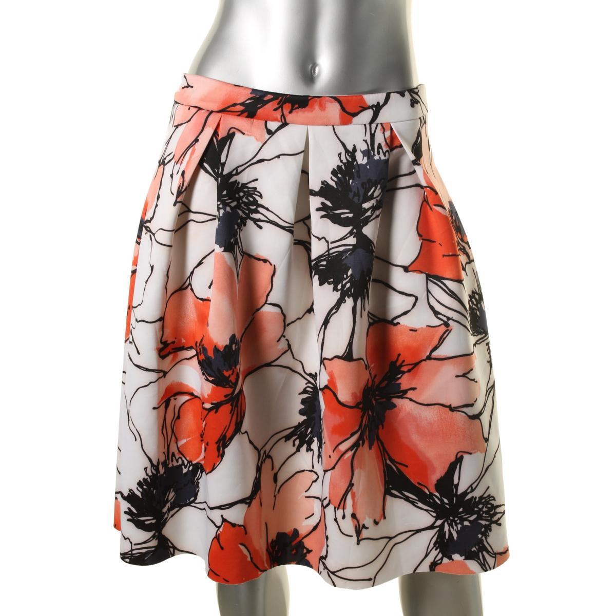Aqua-7868-Womens-Red-Floral-Print-Pleated-Neoprene-A-Line-Skirt-L-BHFO