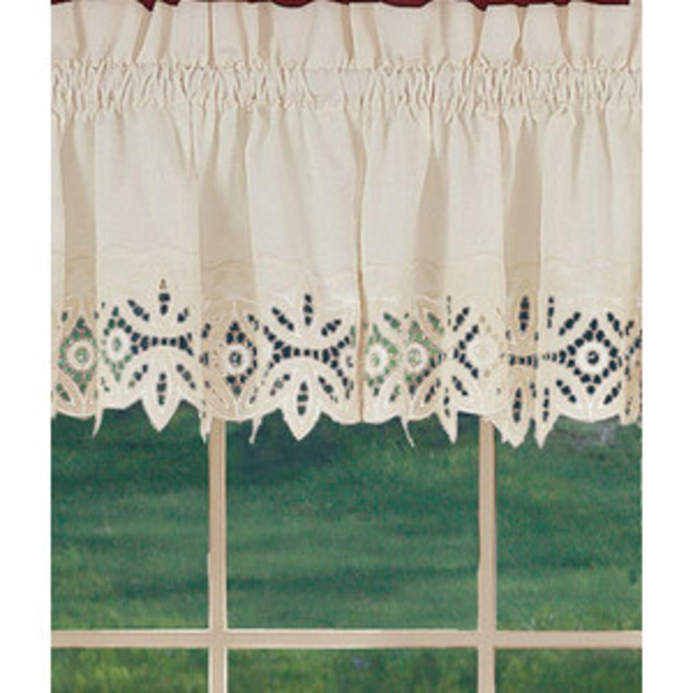 window curtains new battenburg beige cotton lace trim valance 60x30