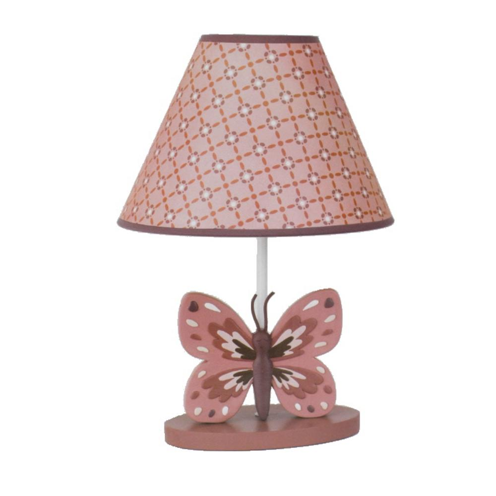 Cocalo baby new emilia pink butterfly baby girl nursery for Nursery floor lamp shades