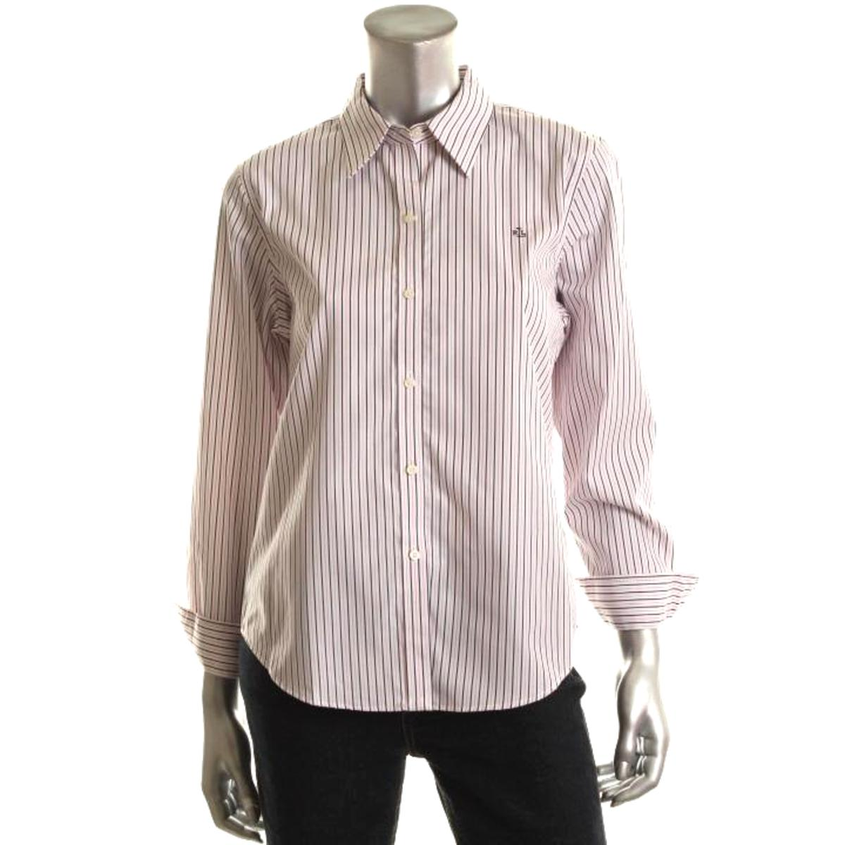 Ralph lauren 1981 womens striped logo long sleeves button for Womens patterned button down shirts