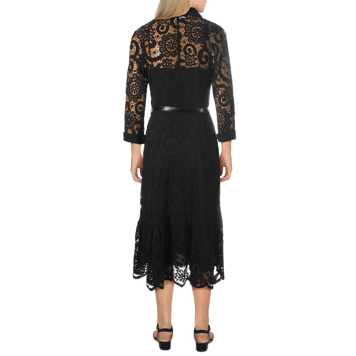 Nanette Nanette Lepore Womens Lace Midi Ruffle Hem Shirtdress BHFO 3835