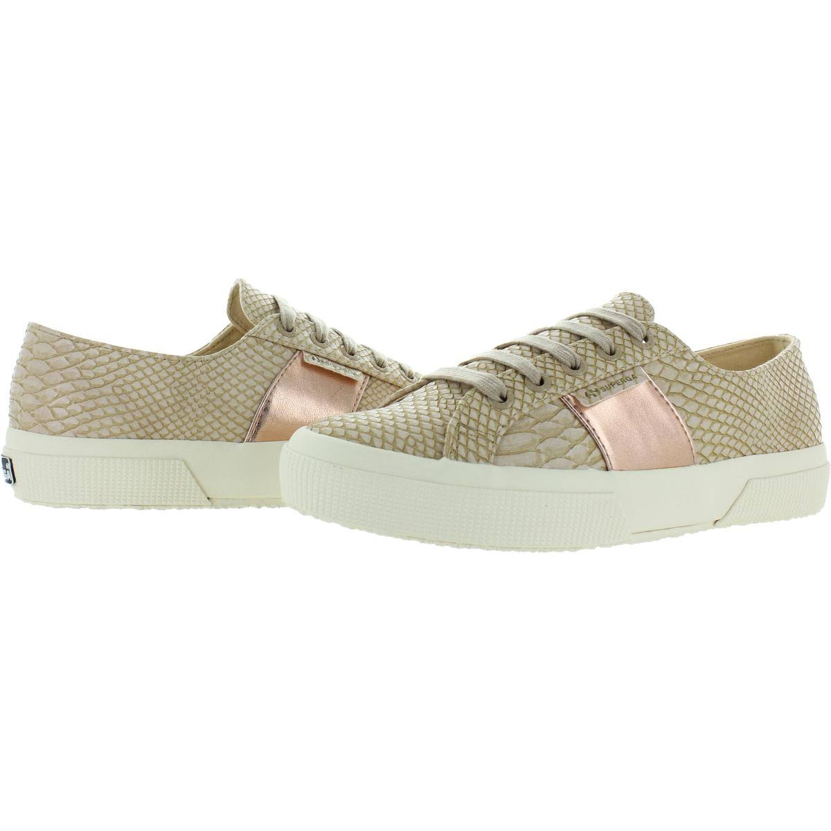 Superga Womens 2750 Faux Leather Croc-Embossed Low-Top Sneakers Shoes BHFO 0404