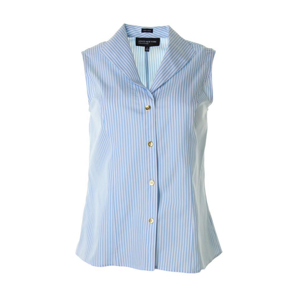 Jones new york new blue cotton striped sleeveless button for Sleeveless cotton button down shirts