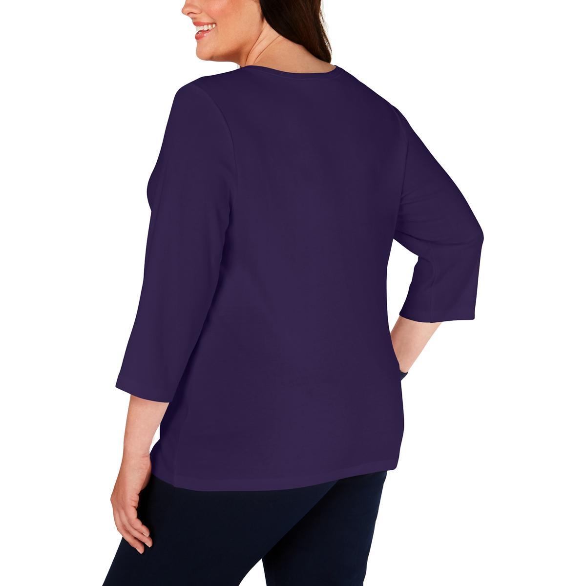 Karen Scott Womens Heathered V-Neck Tee Henley Top Shirt Plus BHFO 6239