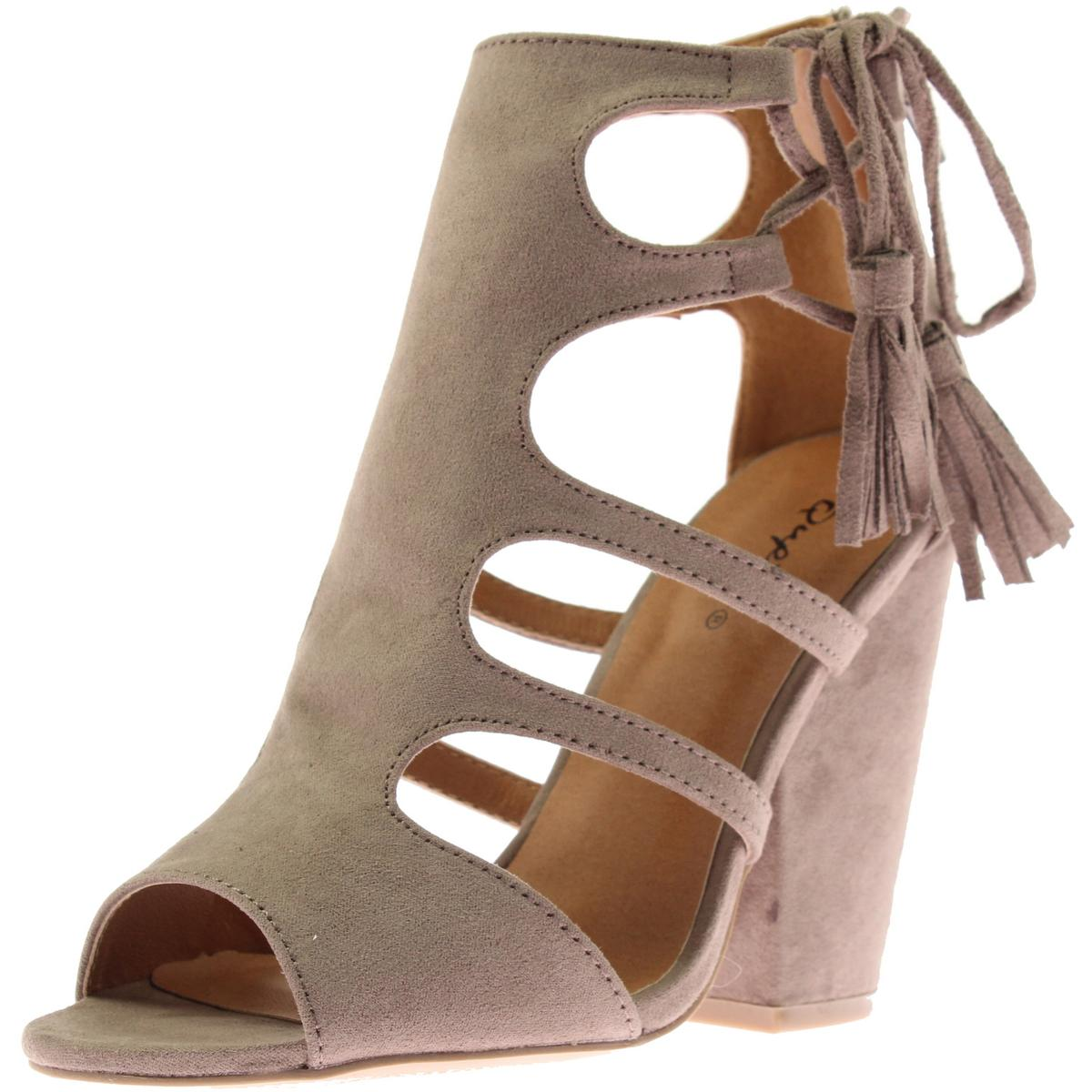 qupid 3707 womens sawyer faux suede chunky heel dress