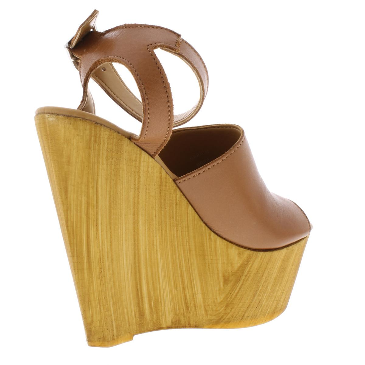 Steve Madden Womens Bridgit Leather Platform Wedge Sandals Shoes BHFO 2046