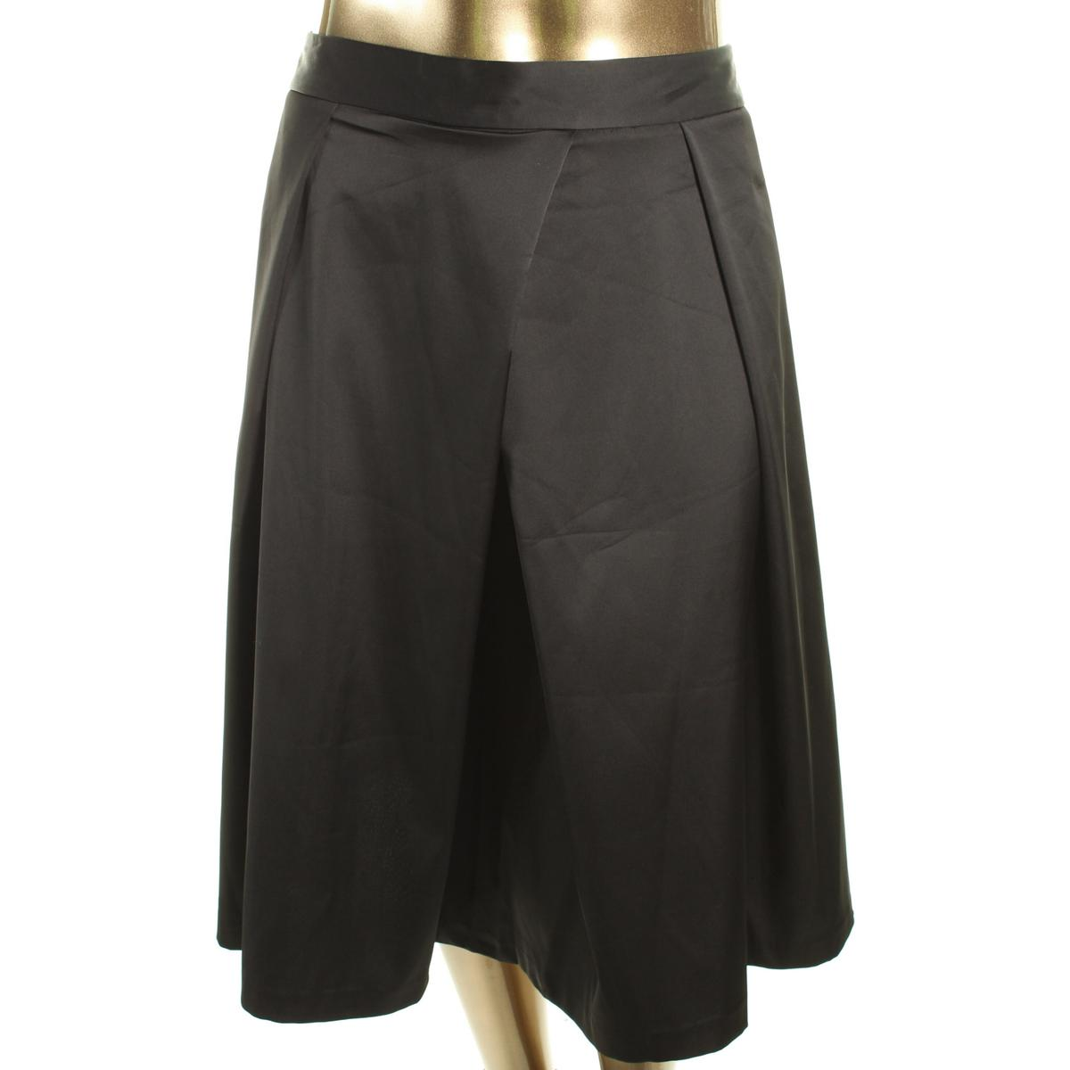 city chic 7938 womens black satin pleated flare skirt
