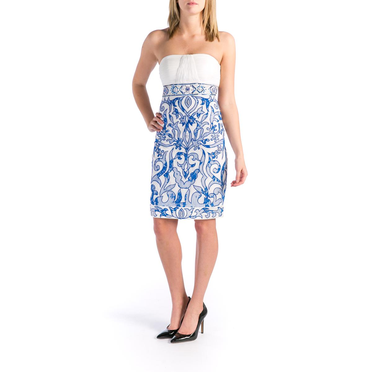 sue wong 1734 womens ivory beaded strapless cocktail
