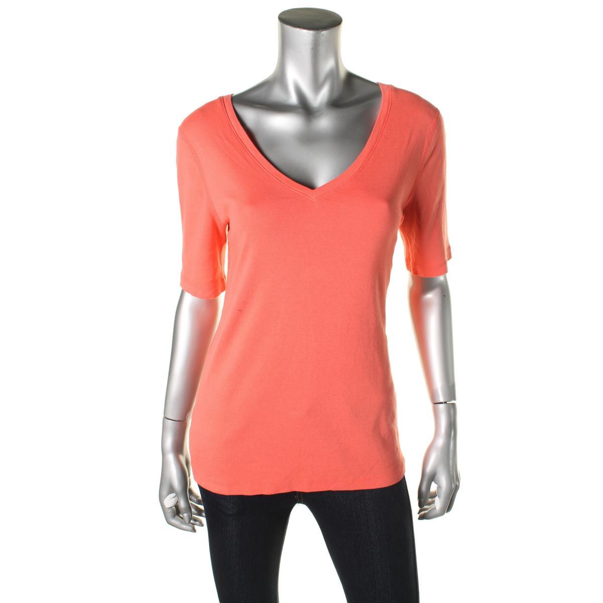 Three Dots 9656 Womens Elbow Sleeves V Neck T Shirt Top