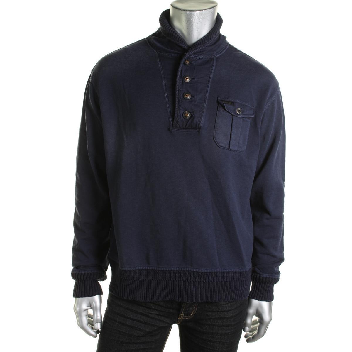 Ralph Lauren Ribbed Trim Funnel Neck Henley Shirt