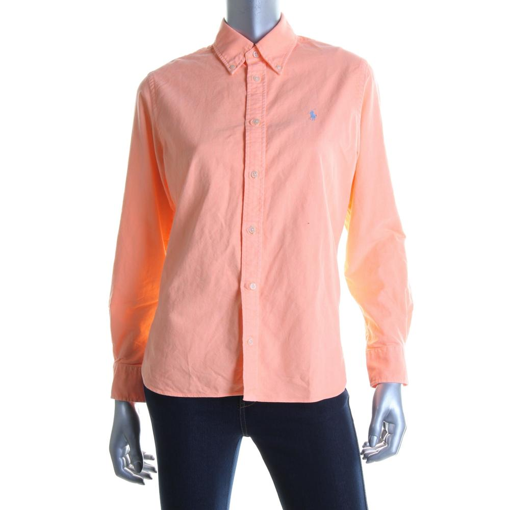 Ralph Lauren 7084 New Womens Orange Oxford Button Down Top