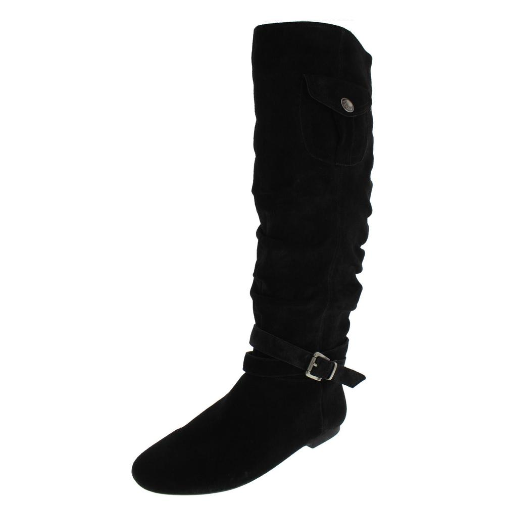 bcbg new bianco black suede slouchy flats knee high boots