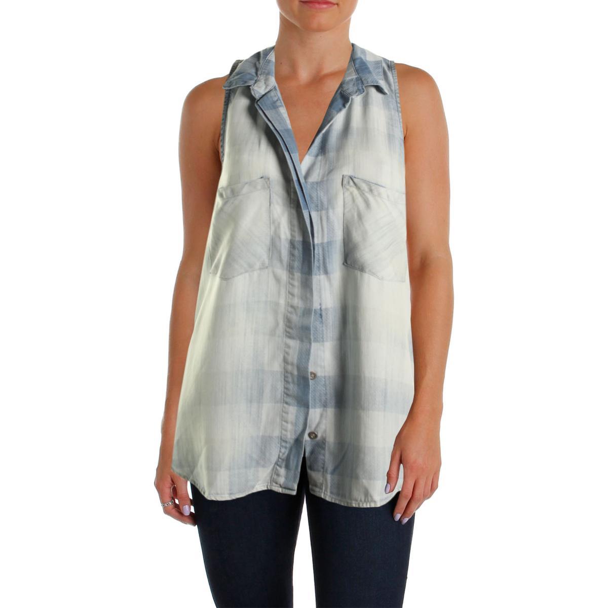 Bella dahl 6376 womens collar plaid sleeveless button down for Bella dahl plaid shirt