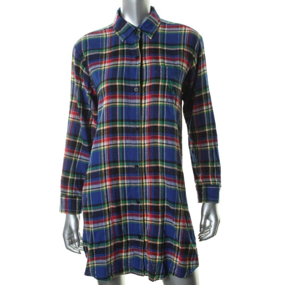 Ralph lauren new multi cotton plaid long sleeves sleep Long cotton sleep shirts