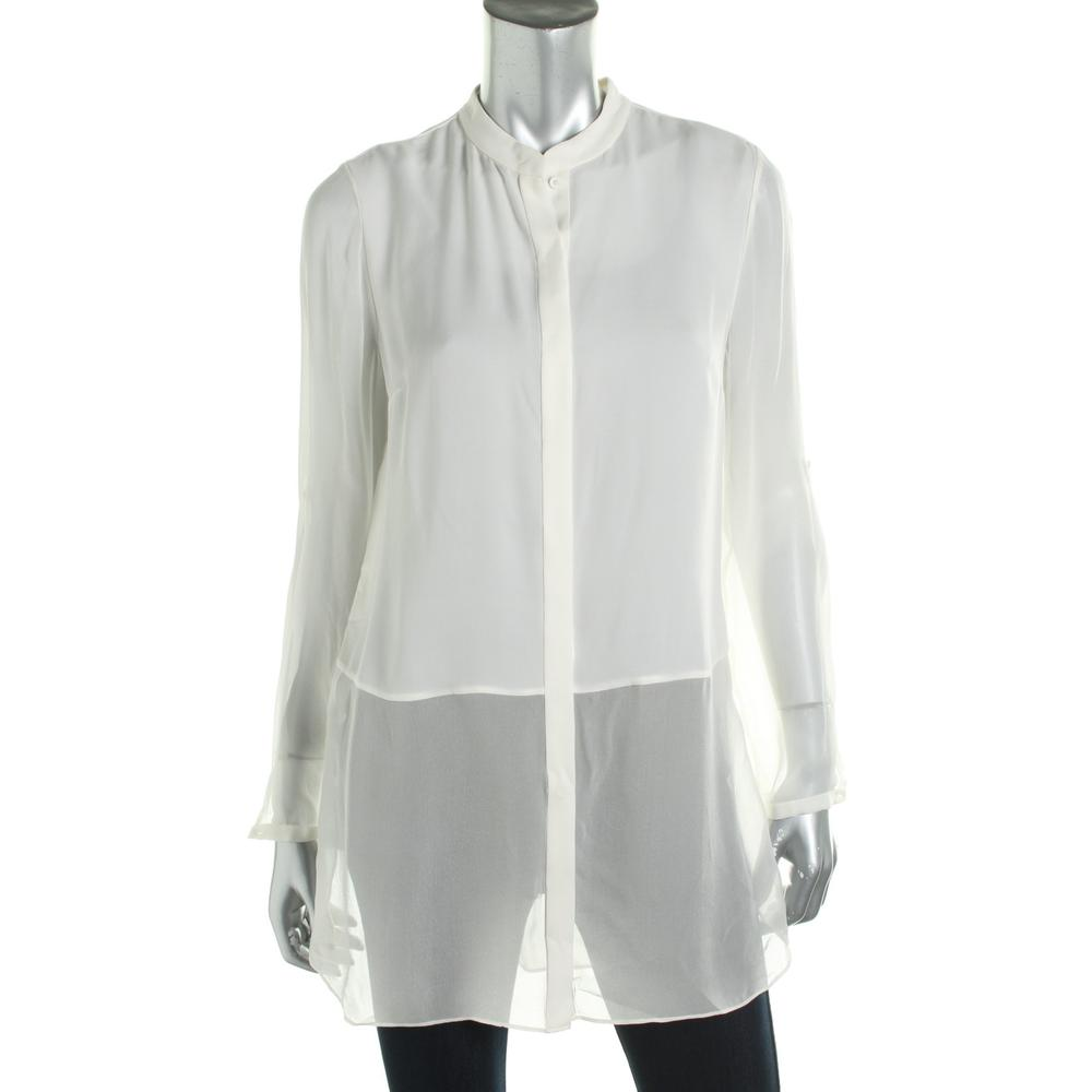 Elie tahari 6660 new womens viviann white silk button down for Womens white button down shirt