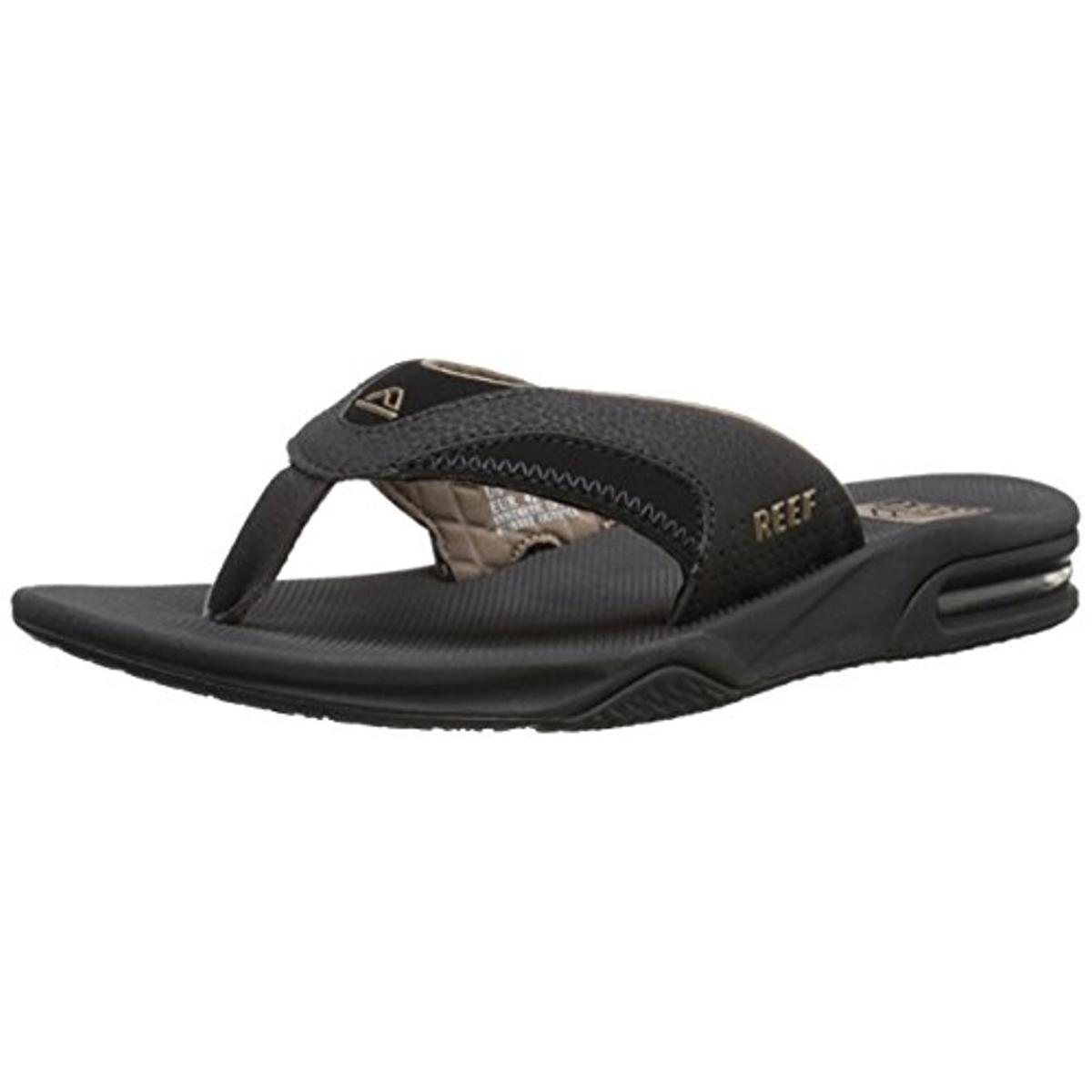 Black reef sandals - Reef 4677 Mens Fanning Ii Thong Contrast Trim