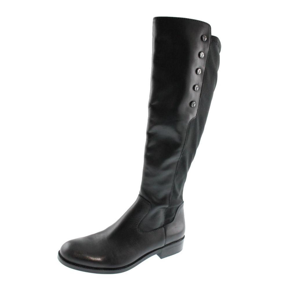 tahari new brady black studded leather knee high boots