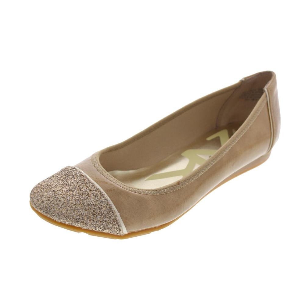 Anne Klein NEW Alaner Beige Patent Glitter Trim Ballet ...