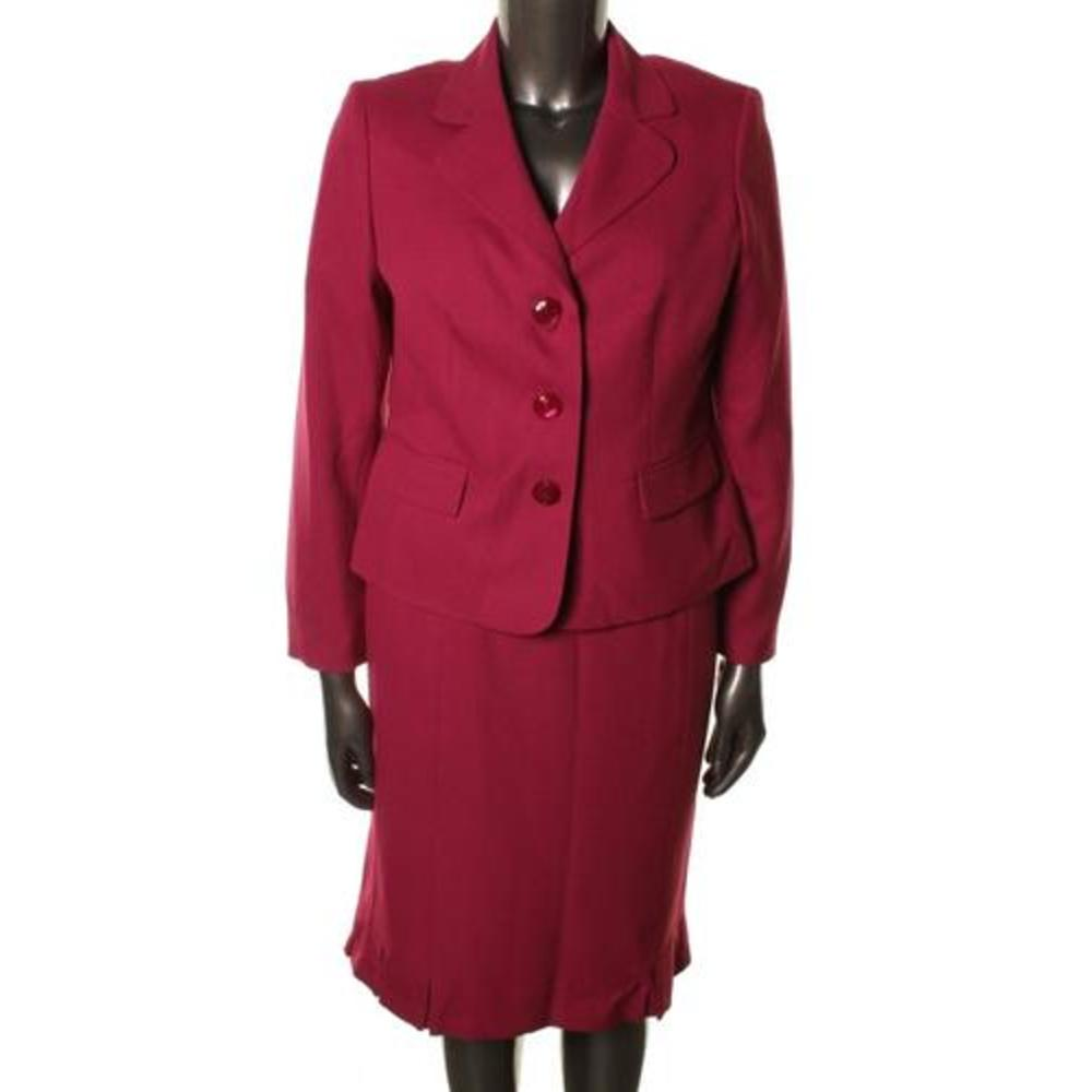 new st morritz pink pleated fitted 2pc skirt suit plus 18