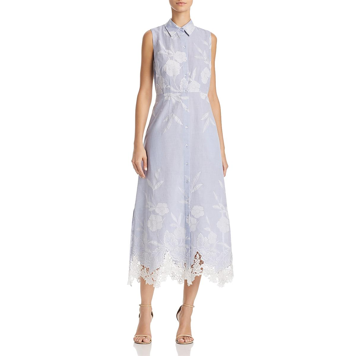 8f7f19c55c1b7 Tahari Millie Womens Embroidered Knee-Length Shirtdress