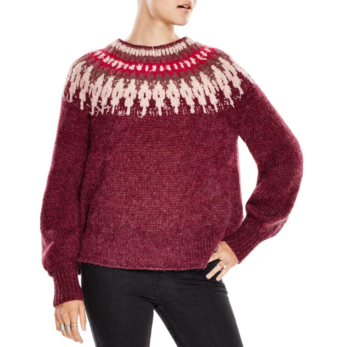 free people 4782 womens fair isle boatneck knit pullover sweater top bhfo ebay. Black Bedroom Furniture Sets. Home Design Ideas
