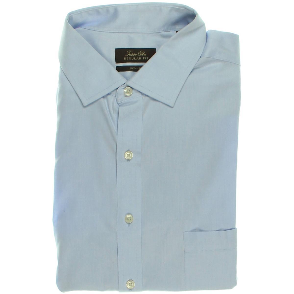 Tasso elba 2832 mens tab collar french cuff button down for Pin collar shirt double cuff