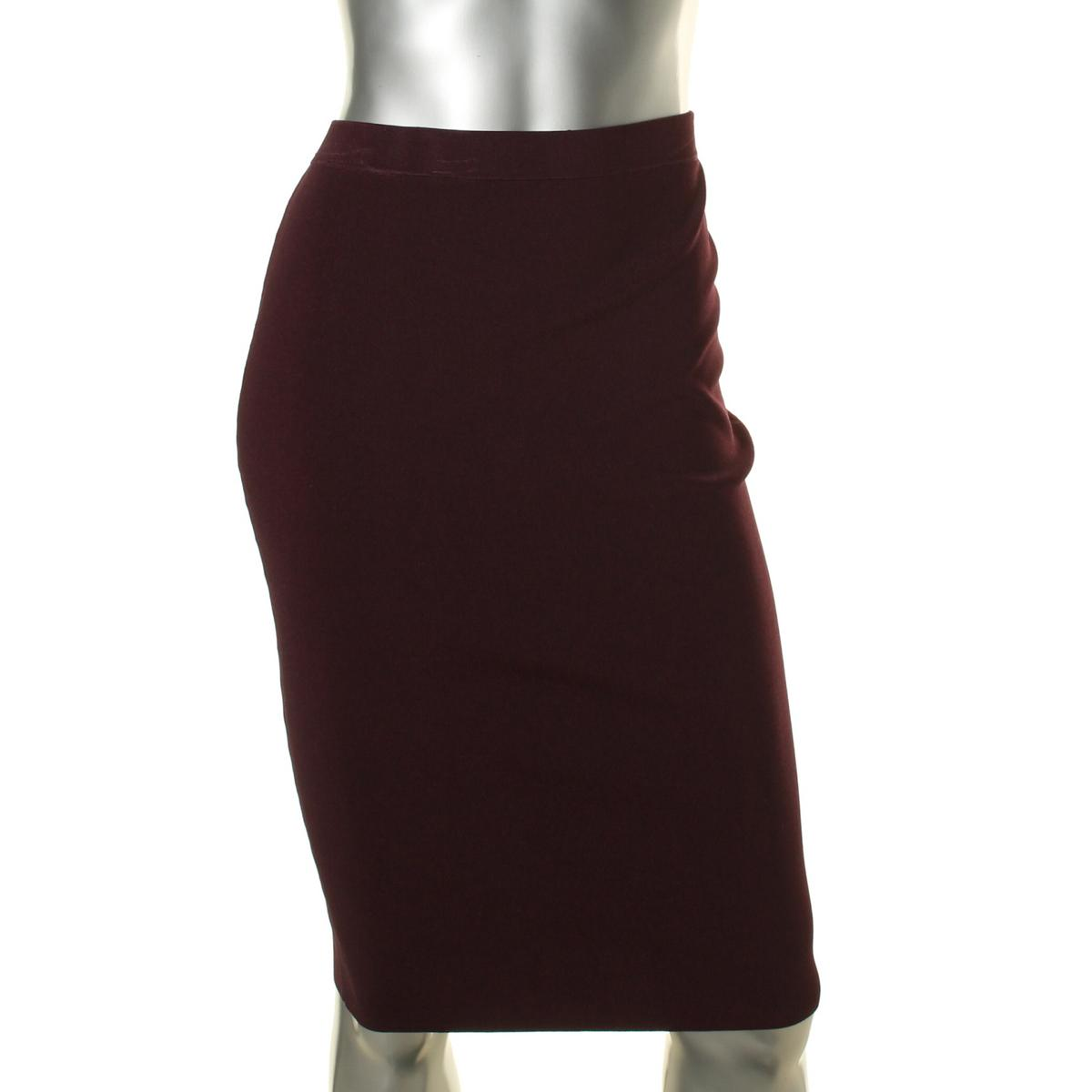 3292 womens purple solid below knee knit skirt s