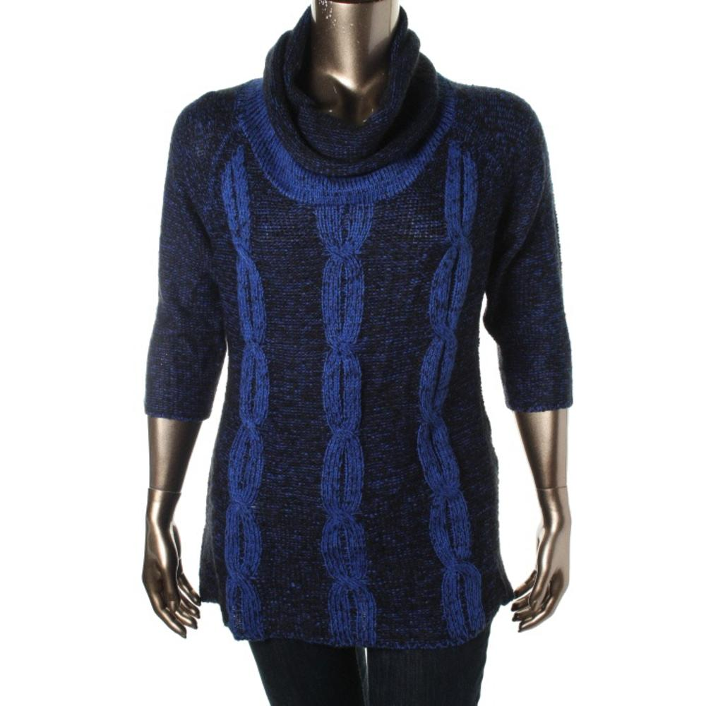 NY Collection Plus Cable Knit Cowl Neck Pullover Sweater