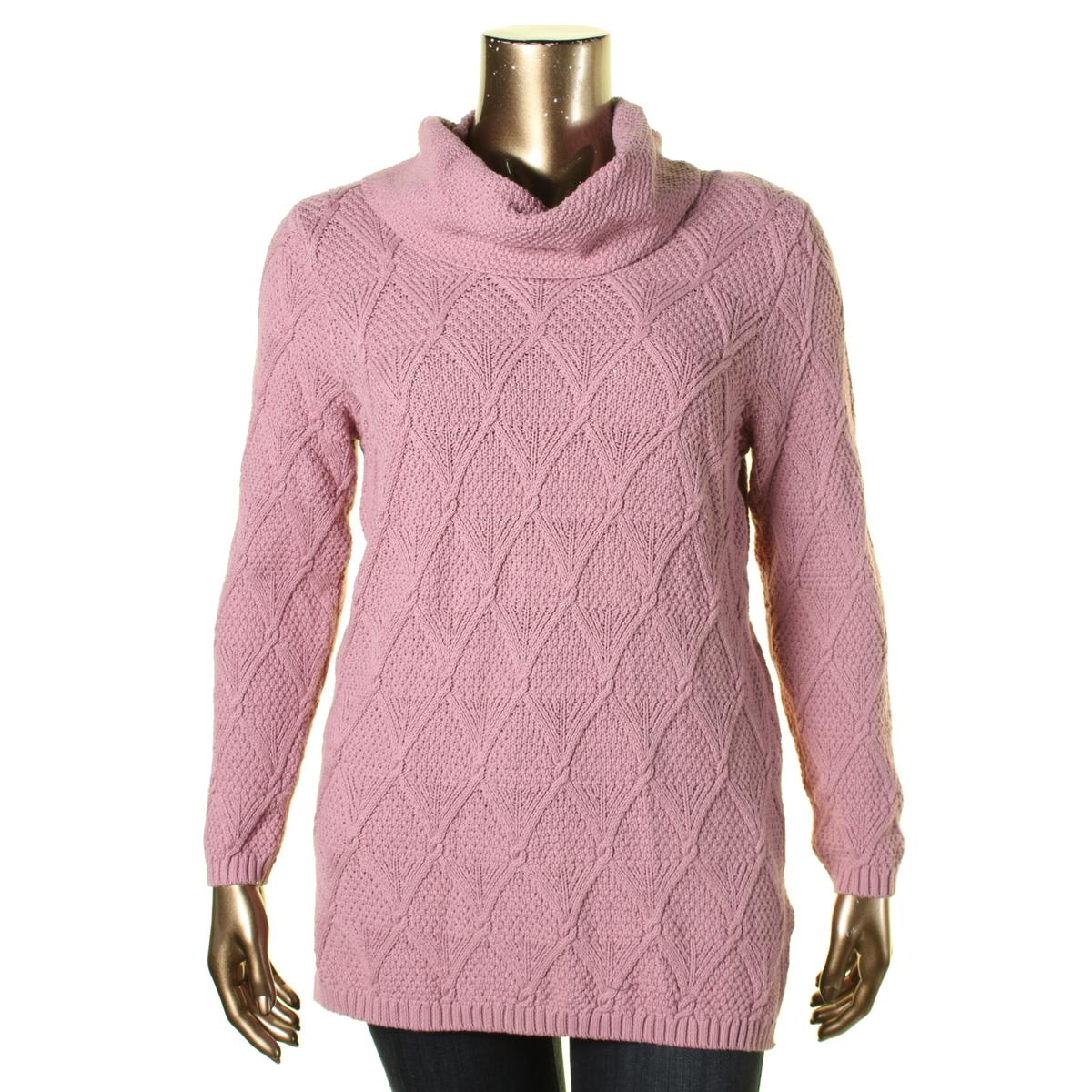 Jeanne Pierre 0391 Womens Cowl Neck Cable Knit Long