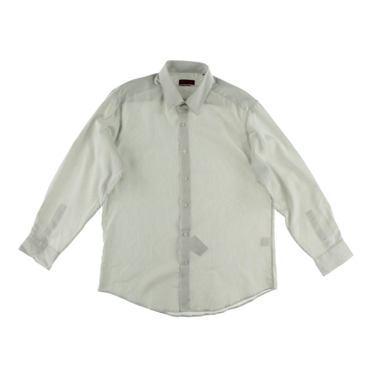 Alfani 9822 Mens White Fitted Striped Button Down Shirt 14