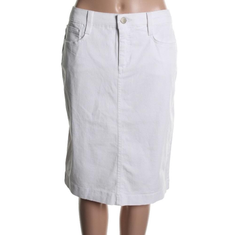 new white solid slimming knee length denim skirt