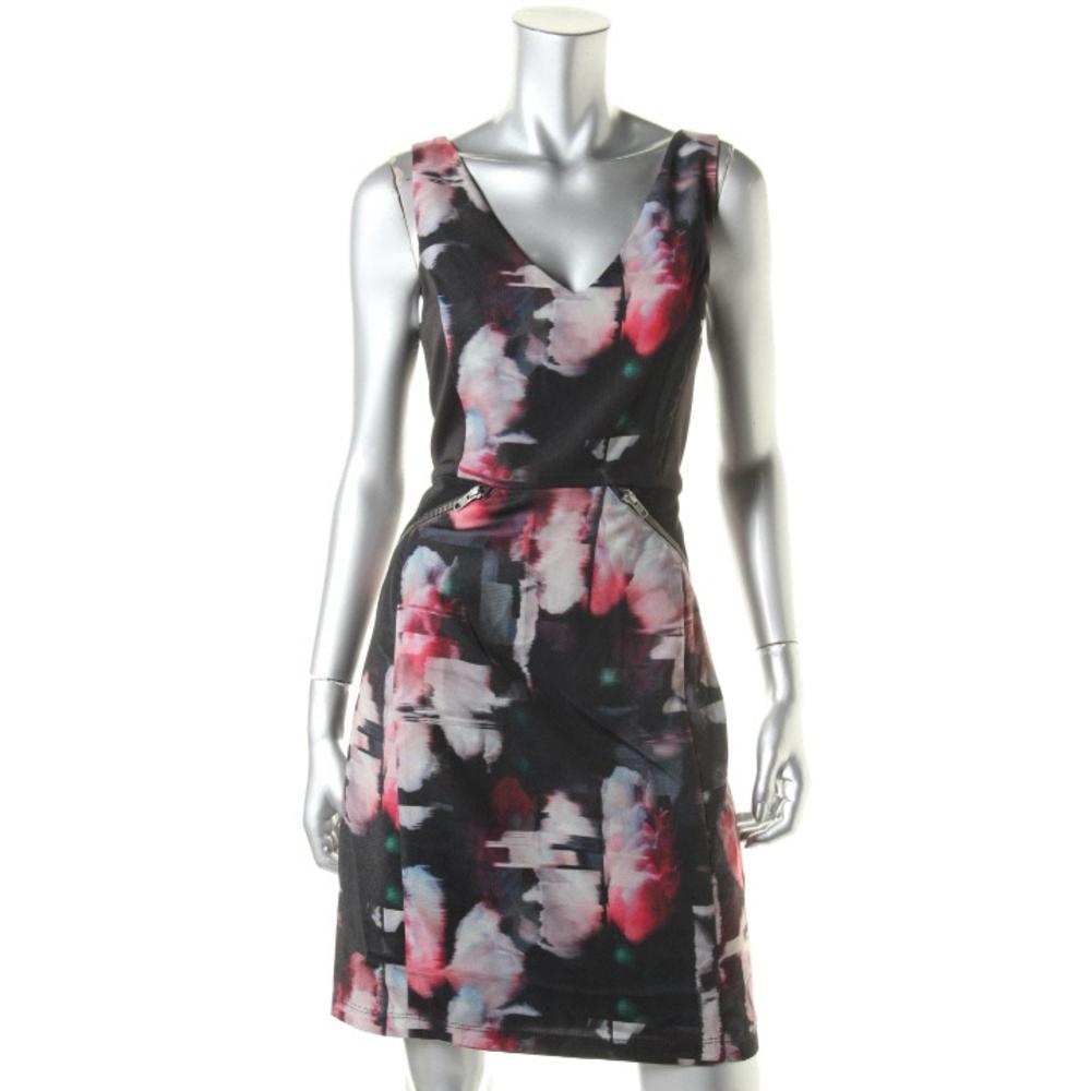 Waverly Grey Printed Sleeveless Wear to Work Dress
