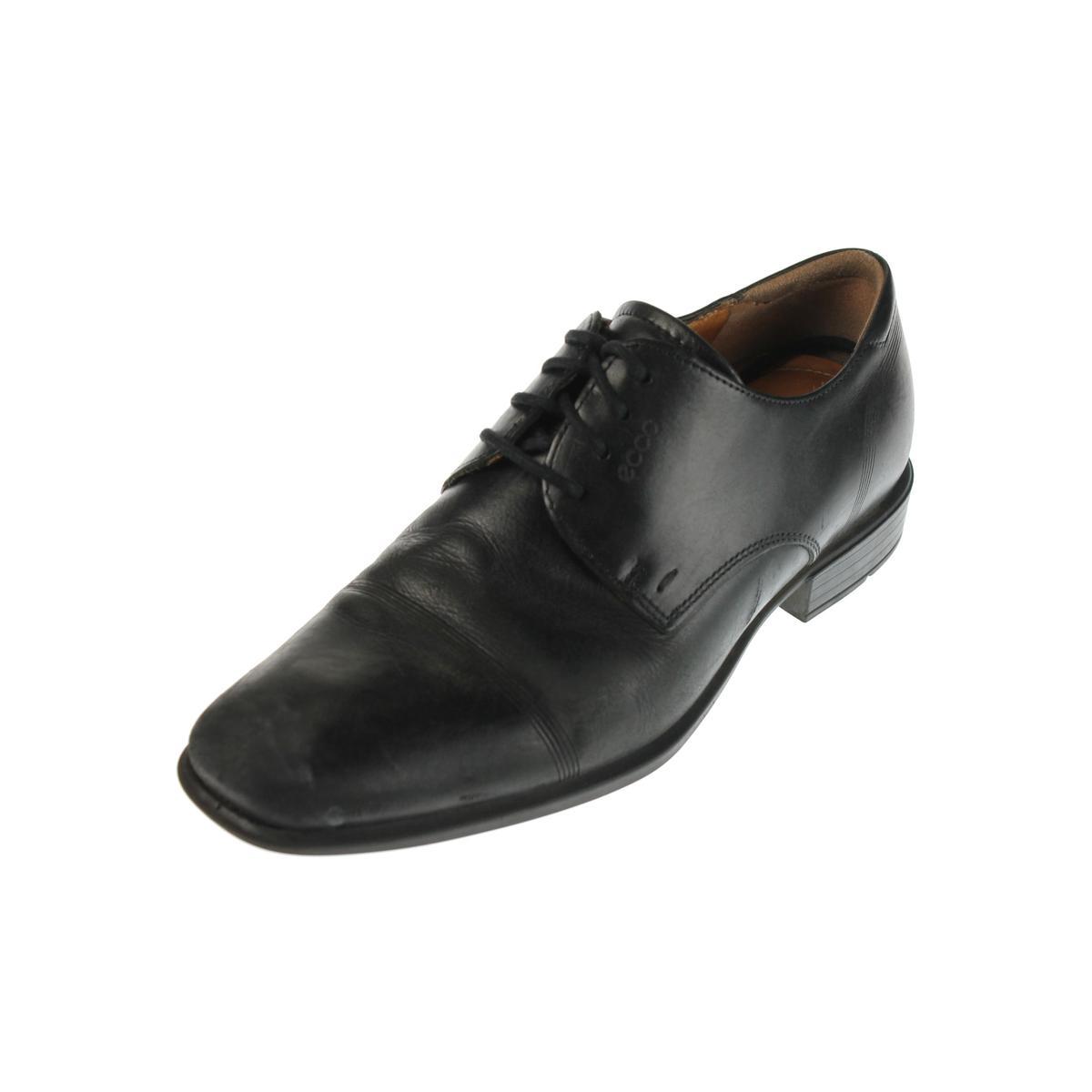 ecco 7351 mens cairo cap toe black leather dress derby
