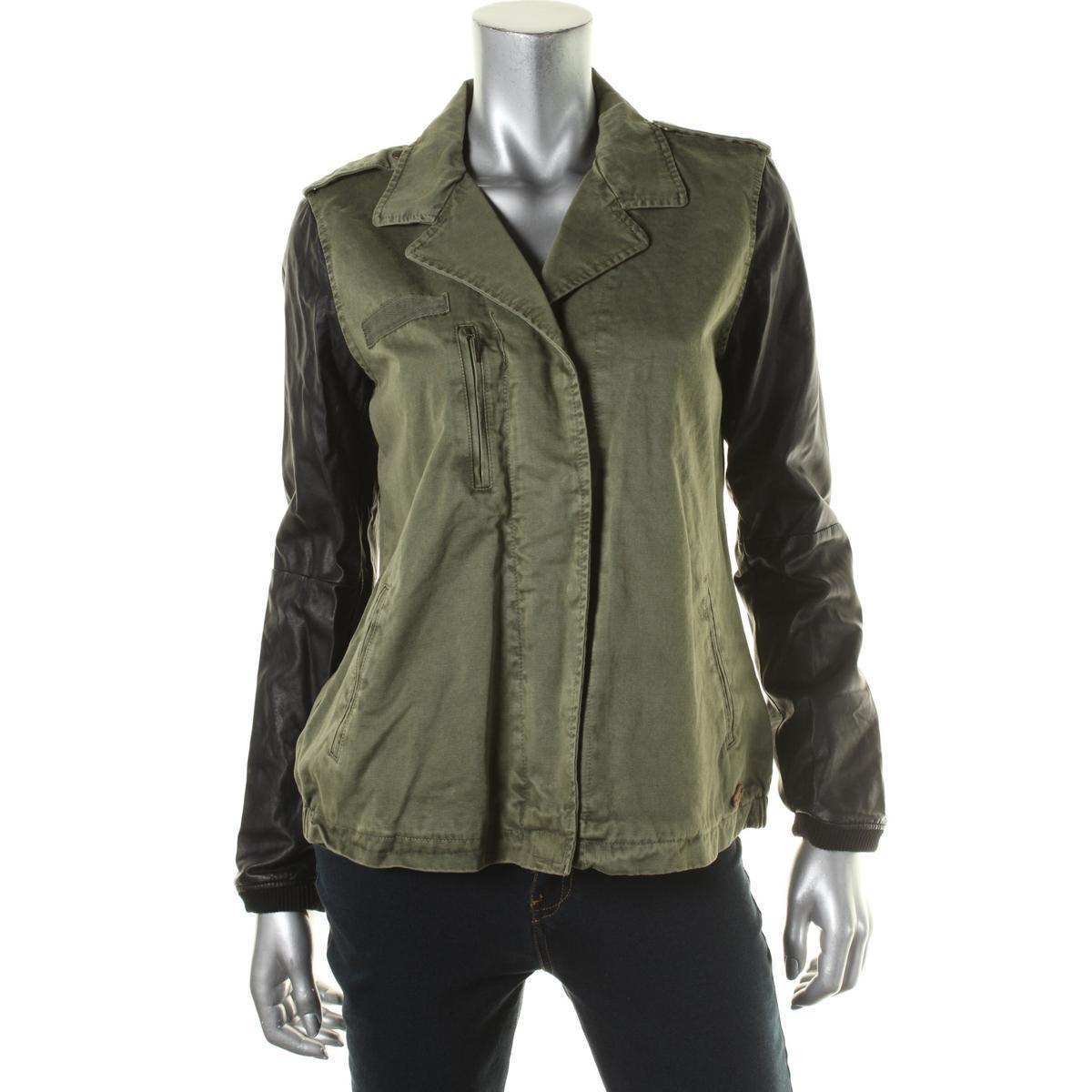 Zara Trafaluc 8134 Womens Green Faux Trim Outerwear Jacket Coat L BHFO | eBay