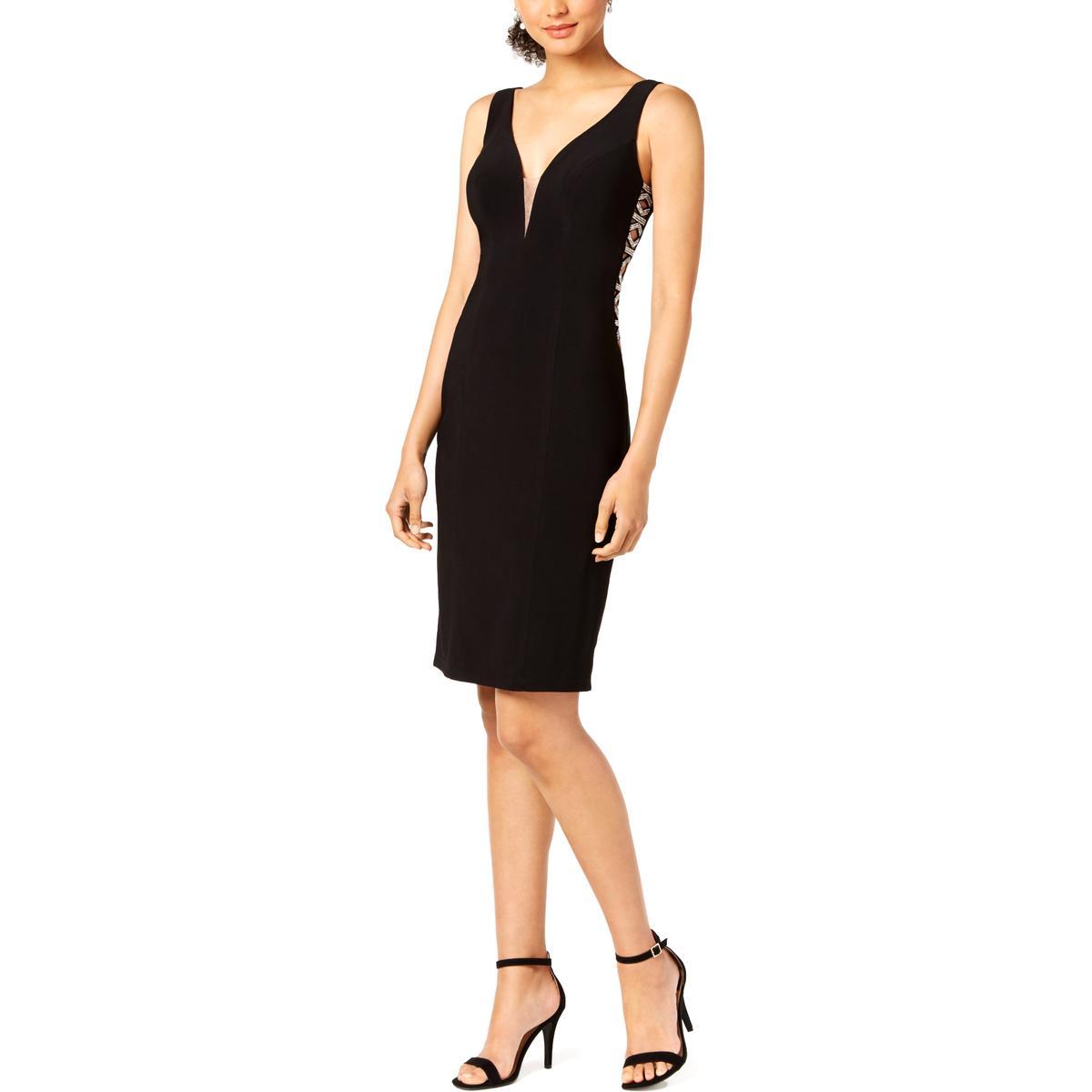 c42b5225 Xscape Petites Womens Cut-Out Mesh Cocktail Dress