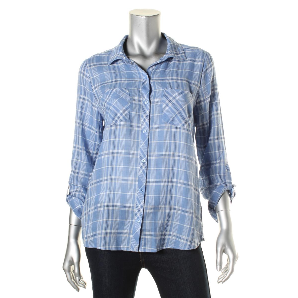 Soft Joie 4540 Womens Sequoia Cotton Plaid Blouse Button