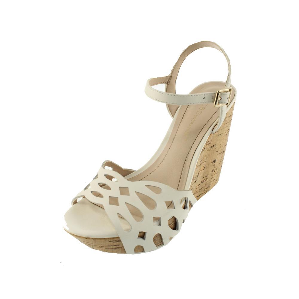 bcbg white cut out platform shoes wedges sandals 7