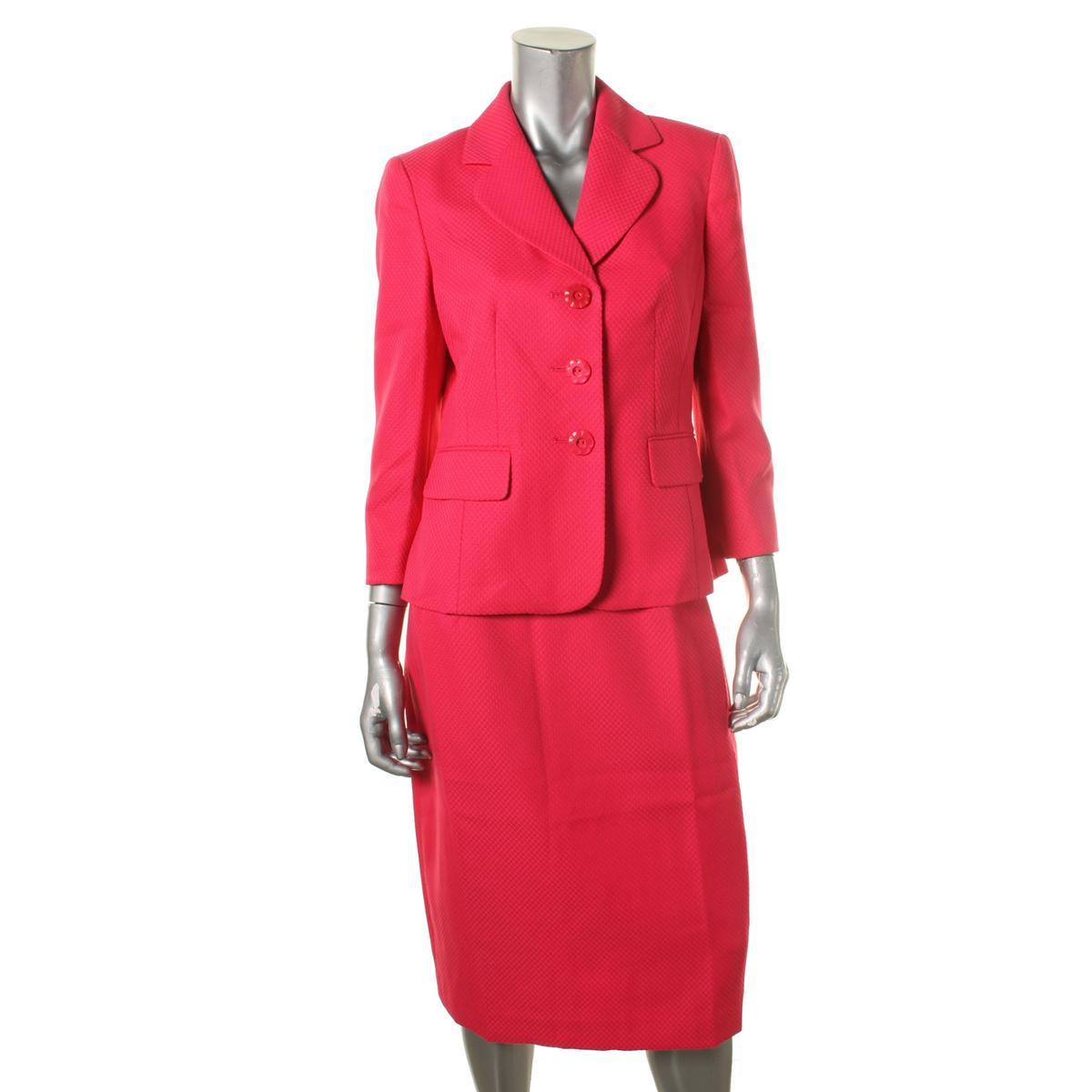 le suit 8442 womens pink 2pc 3 button blazer pencil skirt